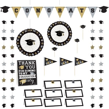 Silver & Gold Graduation Buffet Decorating Kit