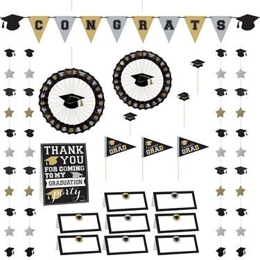 Silver & Gold Graduation Buffet Decorating Kit