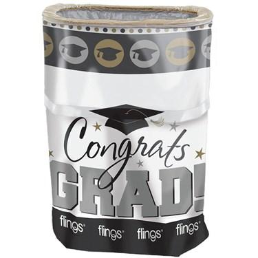 Silver & Gold Graduation Pop-Up Trash Bin (Each)
