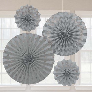 Silver Glitter Paper Fan Decorations (4