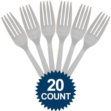 Silver Plastic Forks (20 Pack)