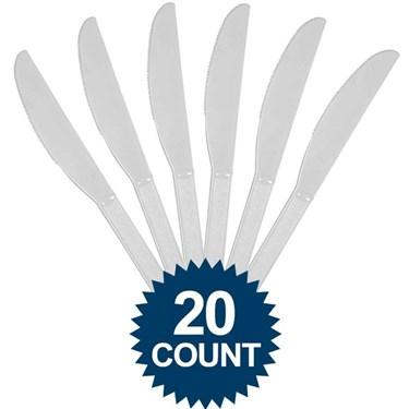 Silver Plastic Knives (20)