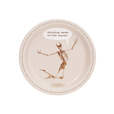 Skeleton Partying Never Killed Anyone Dessert Plate (8)