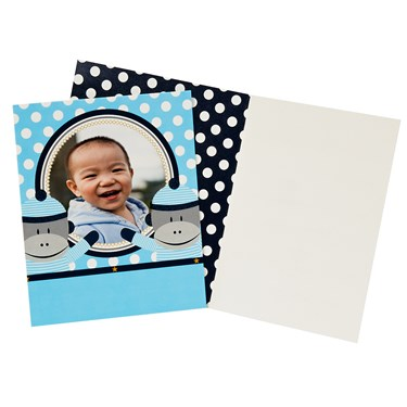 Sock Monkey Blue Personalized Invitations (8)