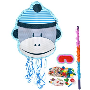 Sock Monkey Blue Pinata Kit