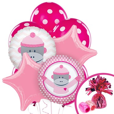 Sock Monkey Pink Balloon Bouquet