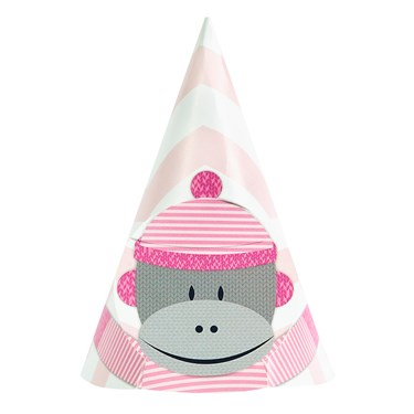Sock Monkey Pink Cone Hats (8)