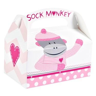 Sock Monkey Pink Empty Favor Boxes (4)