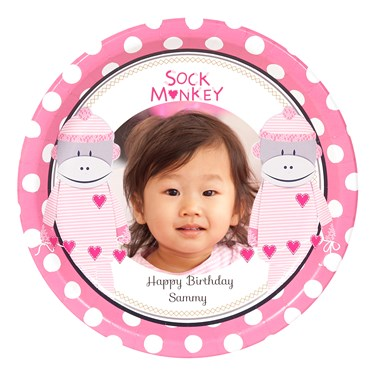 Sock Monkey Pink Personalized Dinner Plates (8)