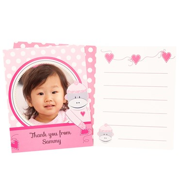 Sock Monkey Pink Personalized Thank-You Notes (8)