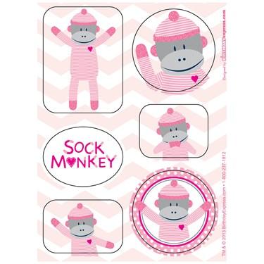 Sock Monkey Pink Sticker Sheets (4)