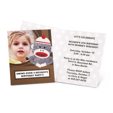 Sock Monkey Red - Personalized Invitations