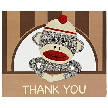 Sock Monkey Red Thank-You Notes