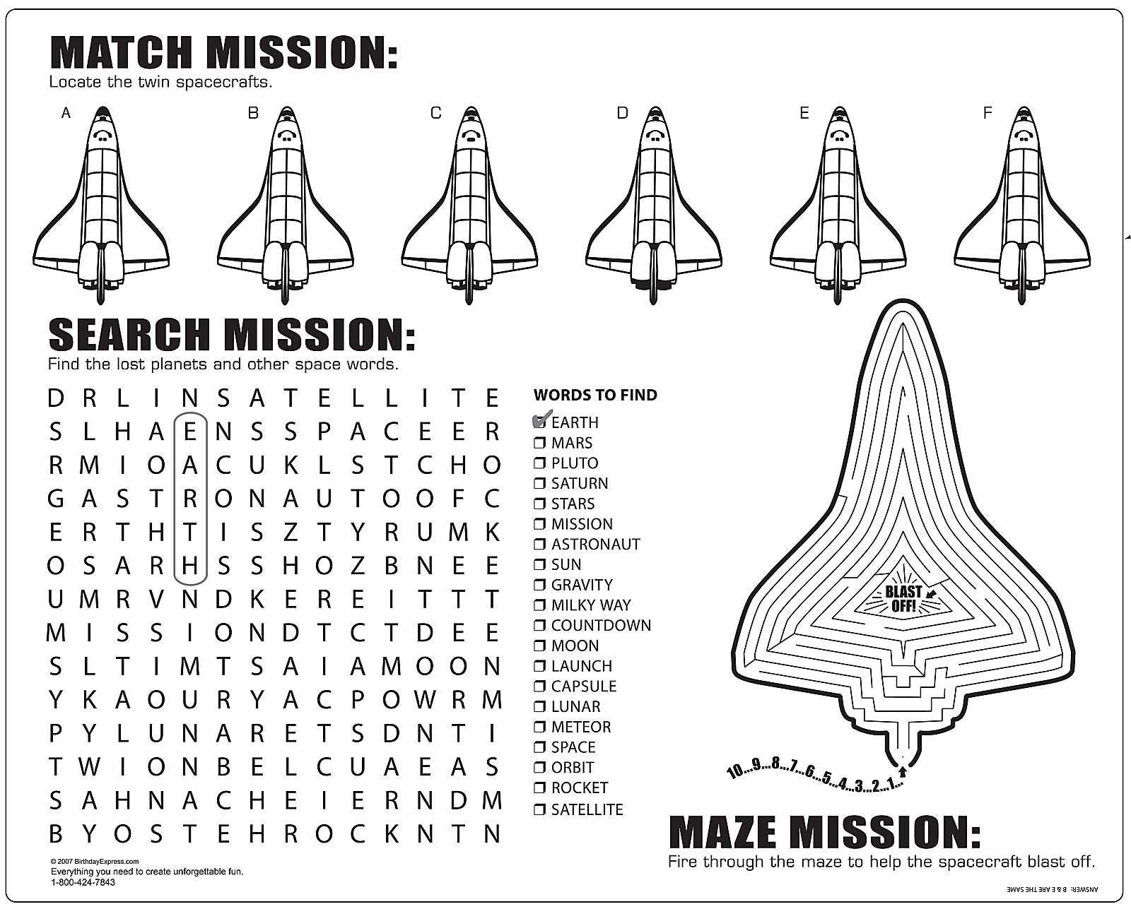Space Mission Activity Placemats | BirthdayExpress.com