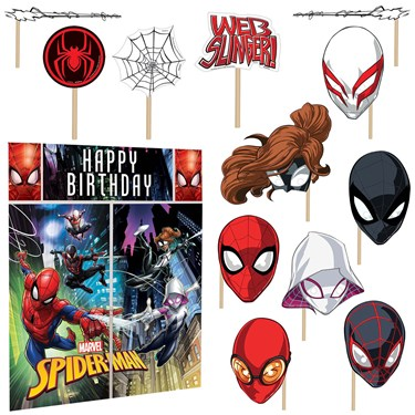 Spiderman Wall Decorating Kit With Photo Props (5pcs)