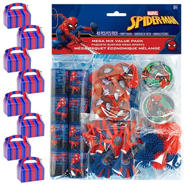 Spiderman Webbed Wonder Filled Favor Box Kit  (for 8 Guests)