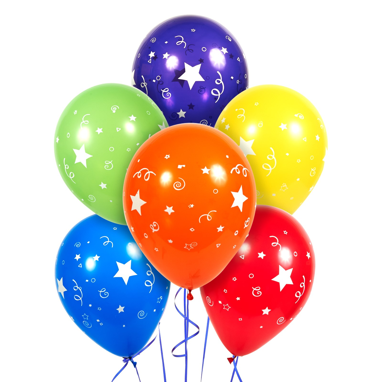 Stars, Dots and Confetti Latex Balloons (6 ...