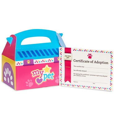Pink Pet Carrier Favor Box & Certificate