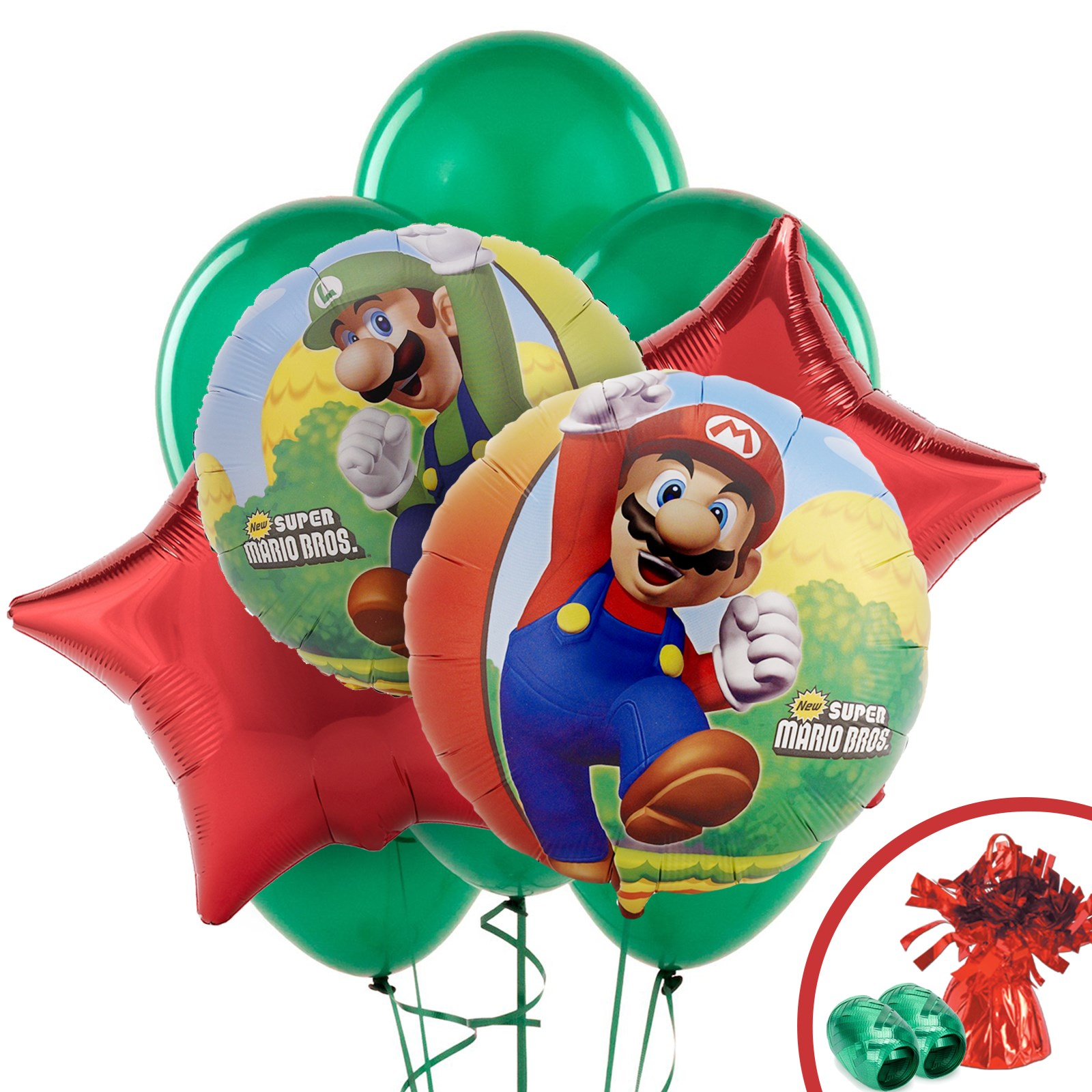 Super mario party supplies birthdayexpress super mario bros balloon bouquet monicamarmolfo Gallery