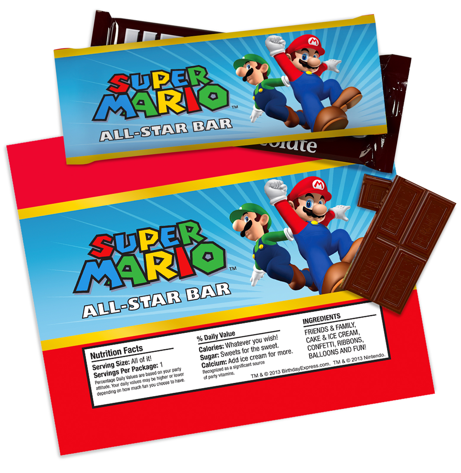 Super Mario Party Large Candy Bar Wrappers | BirthdayExpress.com