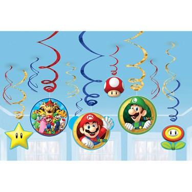 Super Mario Value Pack Foil Swirl Decorations