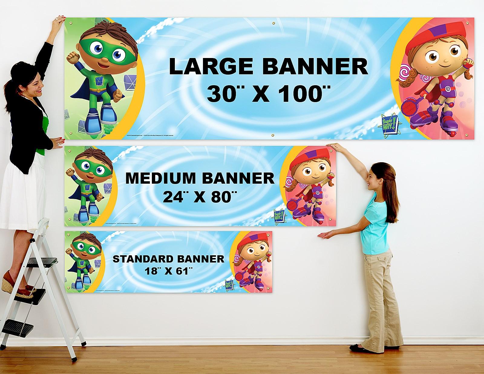 super why! personalized vinyl banner  birthdayexpress