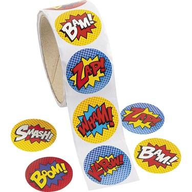 "Superhero 1.5"" Sticker Favors (100)"