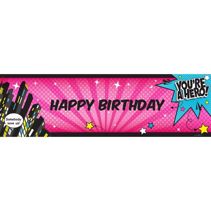 Superhero Girl Birthday Banner