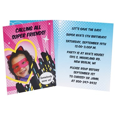 Superhero Girl Personalized Invitations
