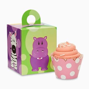 Sweet Safari Pink 1st Cupcake Wrapper Combo Kit