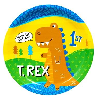 "T-Rex 1st Birthday 9"" Dinner Plate"