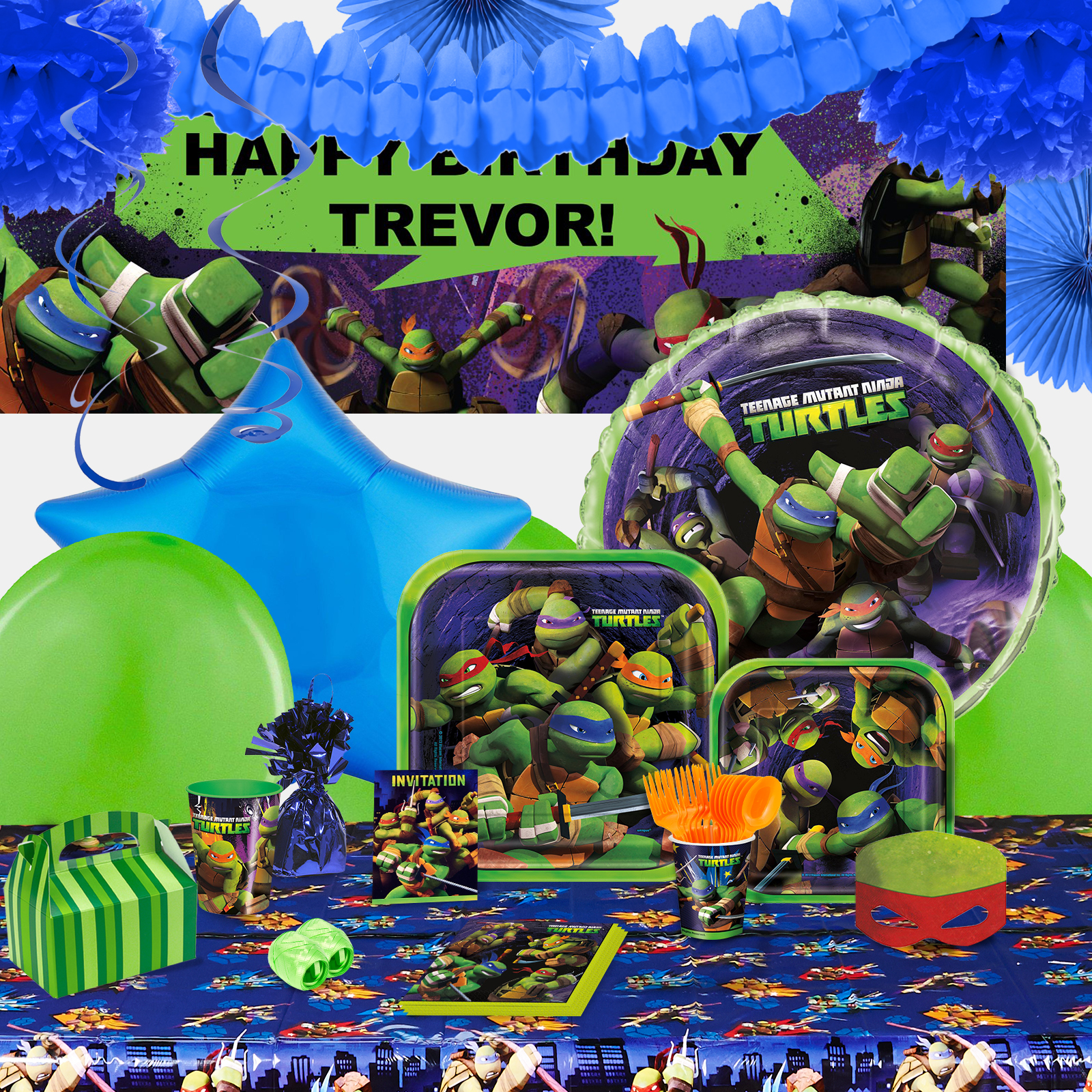 Alt. Image (1) - Teenage Mutant Ninja Turtles Party in a Box For 16