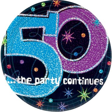 The Party Continues 50th Birthday Cake P