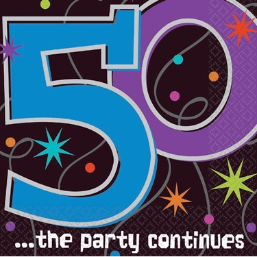 The Party Continues 50th Birthday Napkin