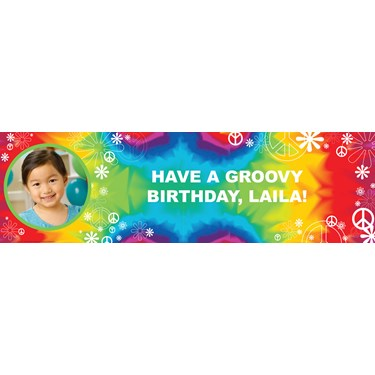 Tie Dye Fun Personalized Photo Vinyl Banner