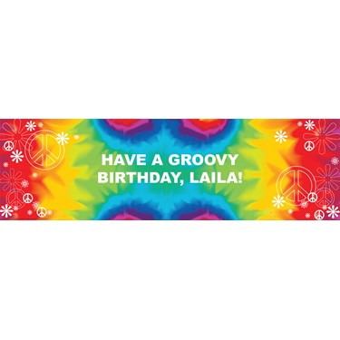 Tie Dye Fun Personalized Vinyl Banner