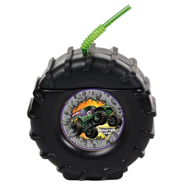 Tire Molded Cup with Monster Jam Stickers.  Choose from 1, 4, 8, or 16 piece packs.