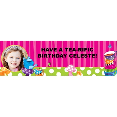 Topsy Turvy Tea Party Personalized Photo Vinyl Banner
