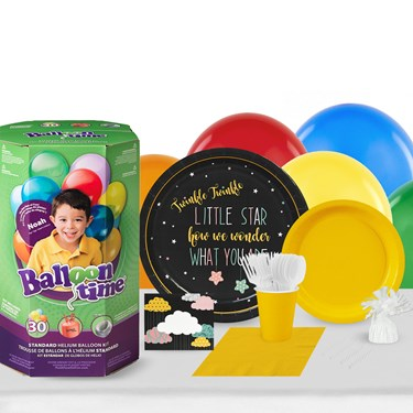 Twinkle Twinkle How We Wonder 16 Guest Party Pack and Helium Kit