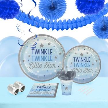 Twinkle Twinkle Little Star Blue 16 Guest Tableware & Deco Kit