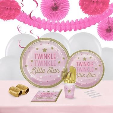 Twinkle Twinkle Little Star Pink 16 Guest Tableware & Deco Kit
