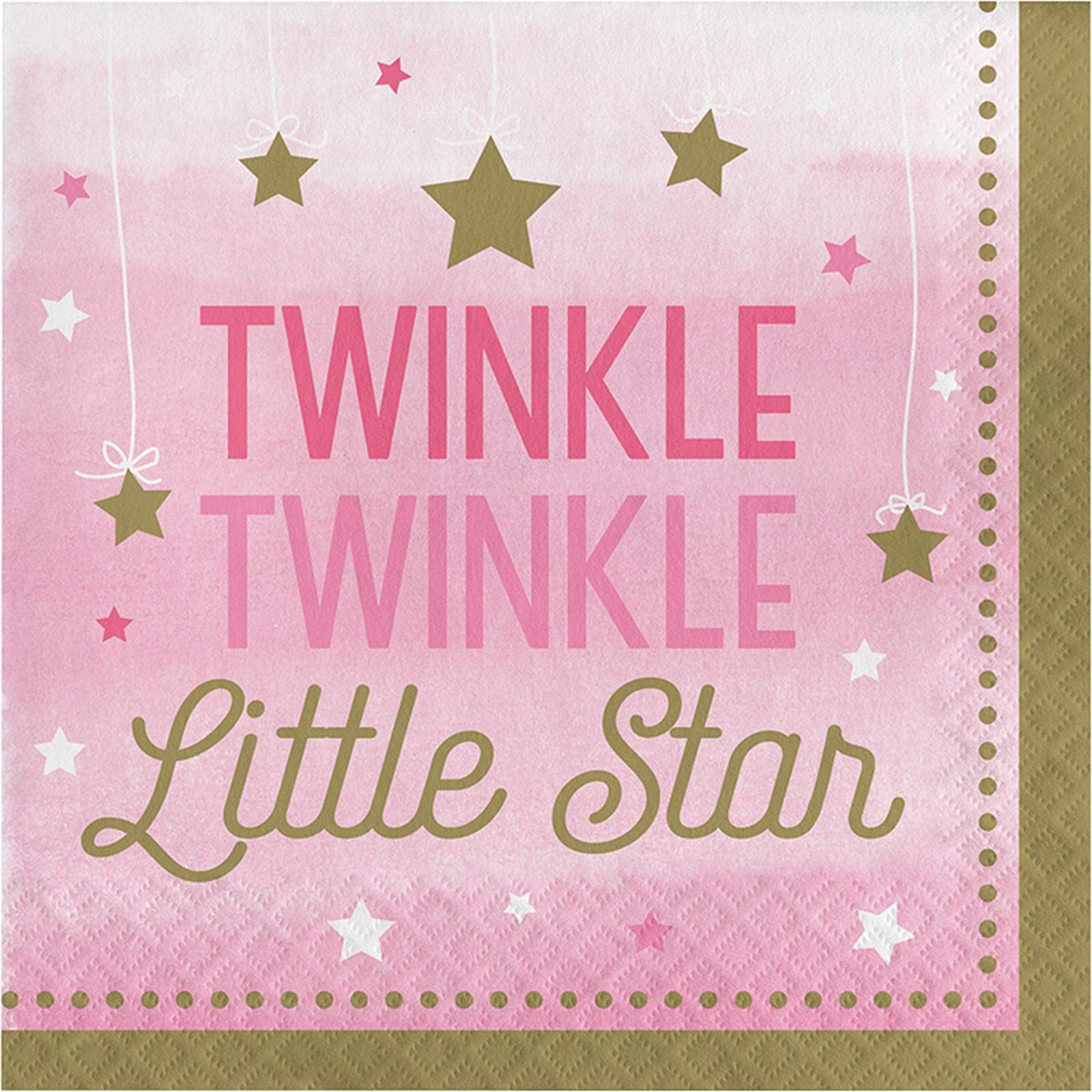 Twinkle Twinkle Little Star Pink Lunch Napkins 16