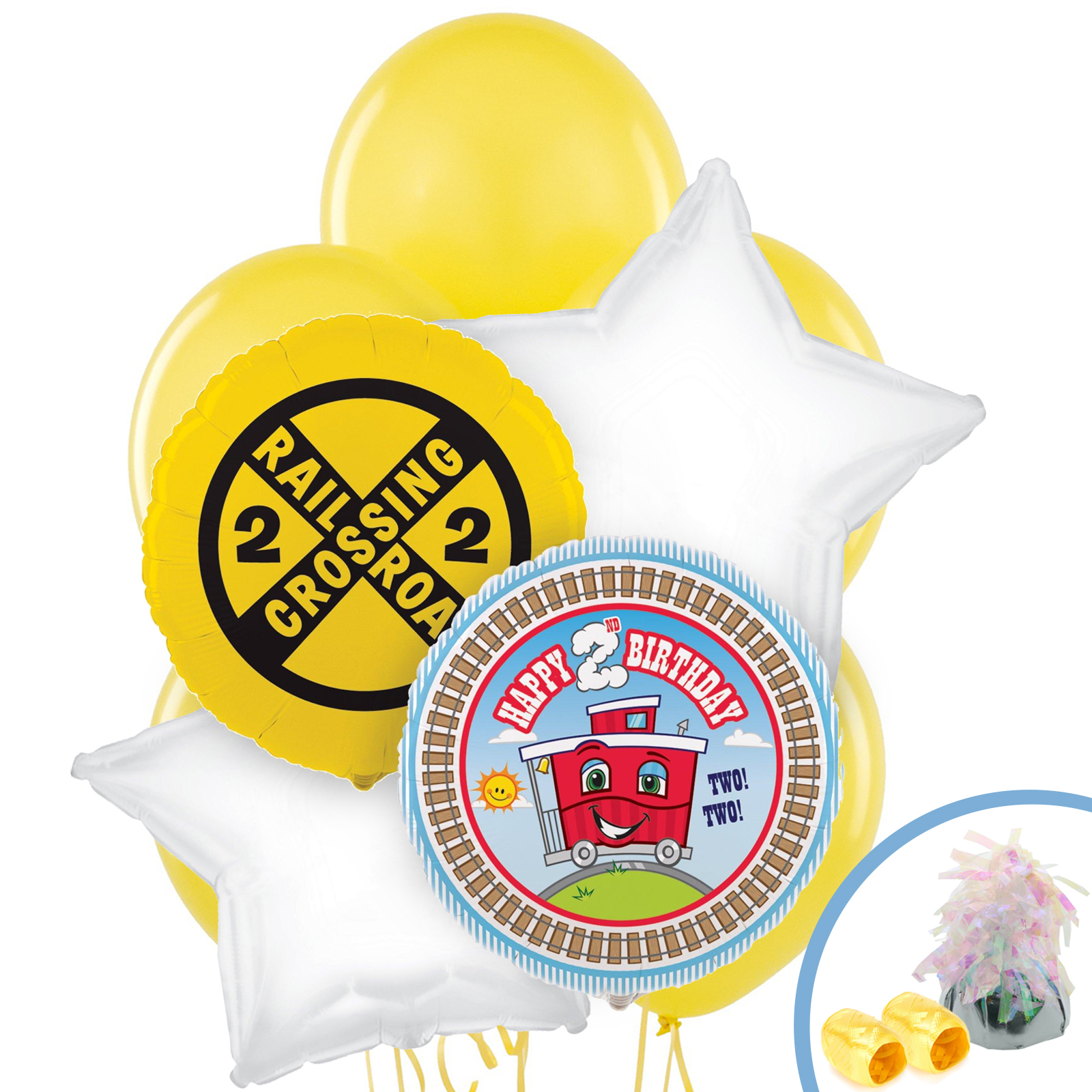Birthday Balloon Images Part - 24: Default Image - Two-Two Train 2nd Birthday Balloon Bouquet