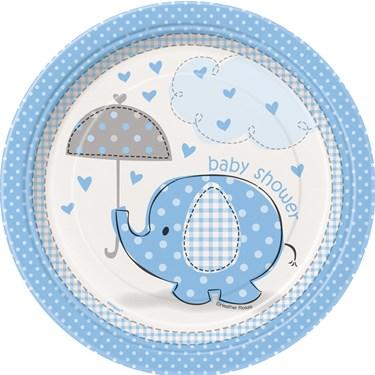 Umbrellaphants Blue Baby Shower Dessert Plates (8)