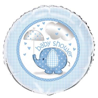 Umbrellaphants Blue Baby Shower Foil Balloon