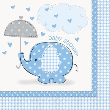 Umbrellaphants Blue Baby Shower Lunch Napkins (16)