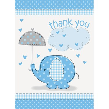 Umbrellaphants Blue Baby Shower Thank You Notes (8)