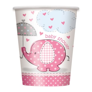 Umbrellaphants Pink Baby Shower 9 oz. Cups (8)