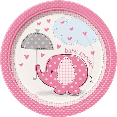 Umbrellaphants Pink Baby Shower Dessert Plates (8)