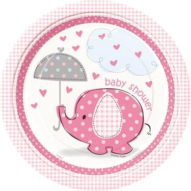 Umbrellaphants Pink Baby Shower Dinner Plates (8)